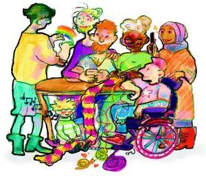 Kuvassa on piirrettyjä ihmisiä,j otka ovat kokoontuneet pöydän ääreen keskustelemaan.