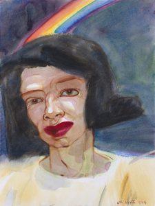 Kuvassa on maalaus naisesta, jonka takana on sateenkaari.