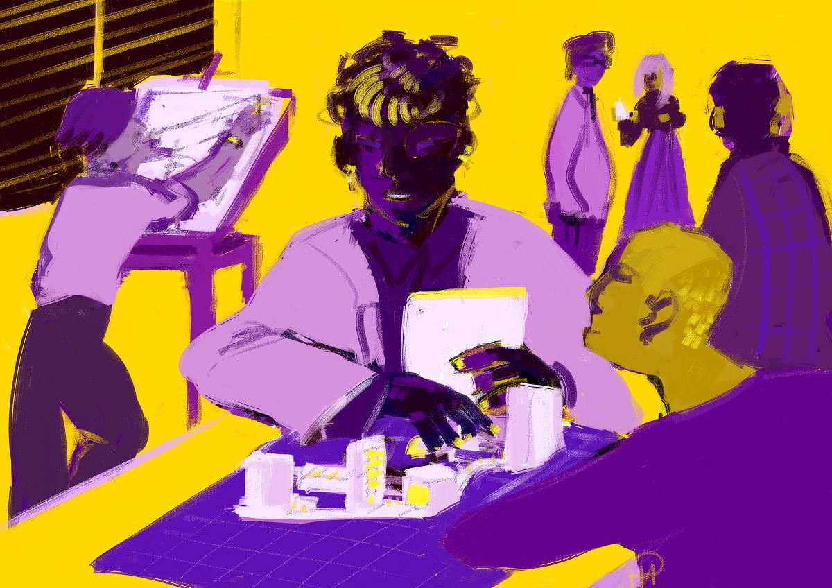 Kuvassa on kuusi henkilöä arkkitehtitoimiston. Keskellä oleva henkilö rakentaa pienoismallia ja hänen vieressään oleva henkilö kuuntelee. Taustalla henkilö piirtää havainnekuvaa.