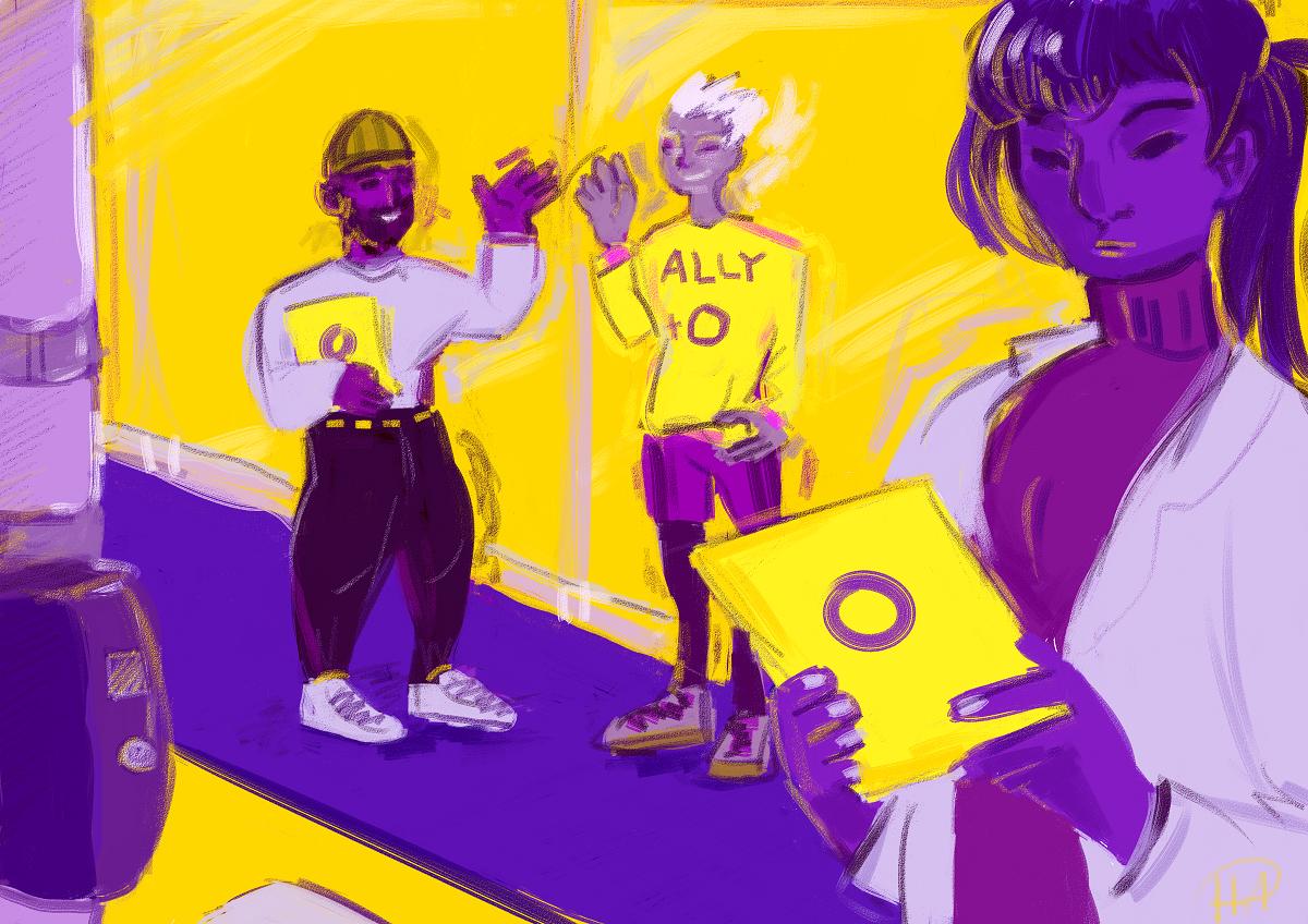 Kuvassa on etualalla henkilö, joka lukee kadulta saamaansa esitettä, jossa on kannessa intersukupuolisuuden tunnus eli violetti rengas keltaisella taustalla. Henkilön taustalla on kaksi iloista hahmoa, jotka ovat antaneet esitteen. Toisen paidassa lukee ally, mikä tarkoittaa suomeksi liittolaista.