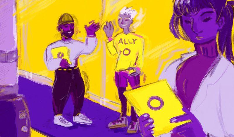 Piirretyssä kuvassa on etualalla henkilö, joka lukee kadulta saamaansa intersukupuolisuutta esitettä, jossa on kannessa intersukupuolisuuden tunnus eli violetti rengas keltaisella taustalla. Henkilön taustalla on kaksi iloista hahmoa, jotka ovat antaneet esitteen. Toisen paidassa lukee ally, mikä tarkoittaa suomeksi liittolaista.