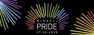 Kuvassa lukee Mikkeli Pride ja se on mustalla pohjalla olevia kirkkaita väritikkuja.