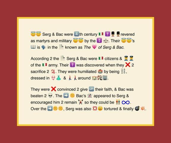 Kuvassa on emoji-kuvilla ja tekstillä tehty taideteoos, joka muodostaa tarinan.