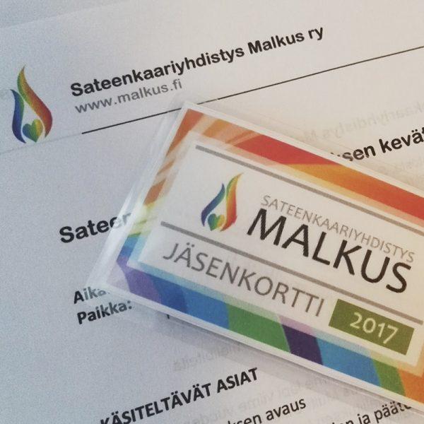 Kuvassa on Sateenkaariyhdistys Malkus ry:n jäsenkortti.