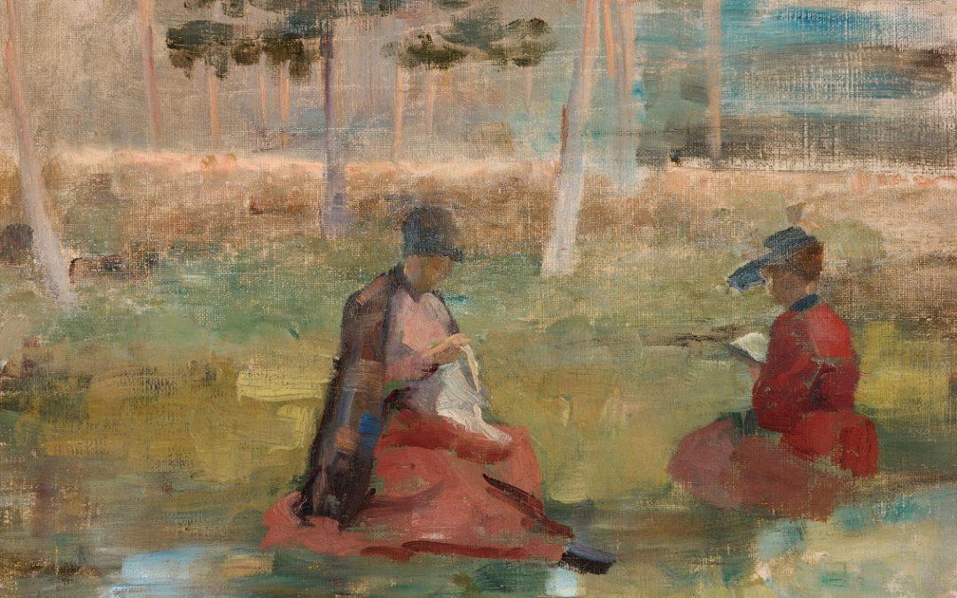 öljyvärimaalaus kahdesta naisesta vanhoissa vaatteissa