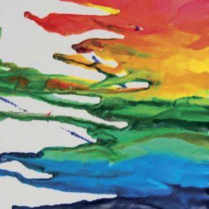 Kuvassa on sulaneita väriliituja sateenkaaren väreissä.