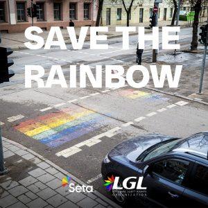 Kuvassa on sateenkaaren värein maalattu suojatie Liettuan pääkaupungissa Vilnassa.