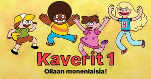 Kuvassa neljä erilaista lasta hyppää ilmaan. Yhdellä on silmälasit, toisella tumma iho ja afro, kolmannella lyhyet hiukset ja mekko ja neljännellä pitkät vaaleat hiukset.