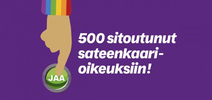 Jo 500 eduskuntavaaliehdokasta sitoutunut sateenkaarioikeuksiin