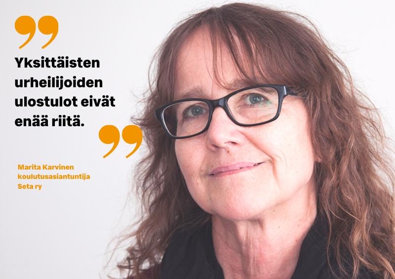 Marita Karvinen ja ulostuloartikkeli
