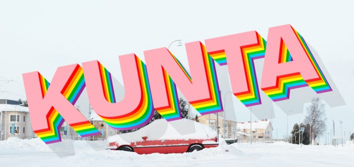 Kuvassa on lumeen hautautunut auto Rovaniemen juna-asemalla ja teksti KUNTA.