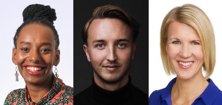 Kuvassa on pressikuvat kansanedusta Bella Forgrenista, Ilmari Nurmisesta ja Sari Multalasta. Kaikki hymyilevät.